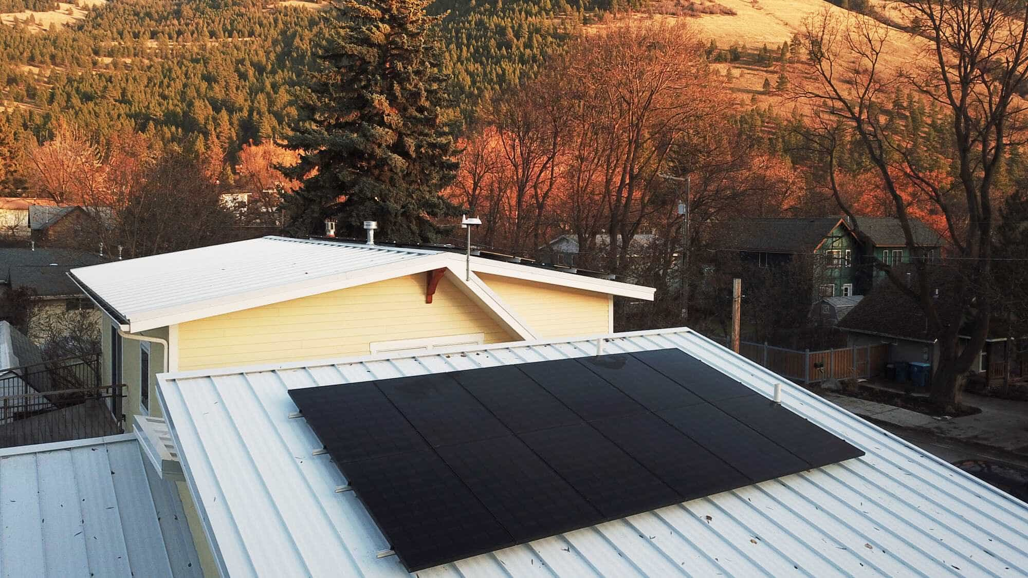 Solar Panels During The Fall In Montana