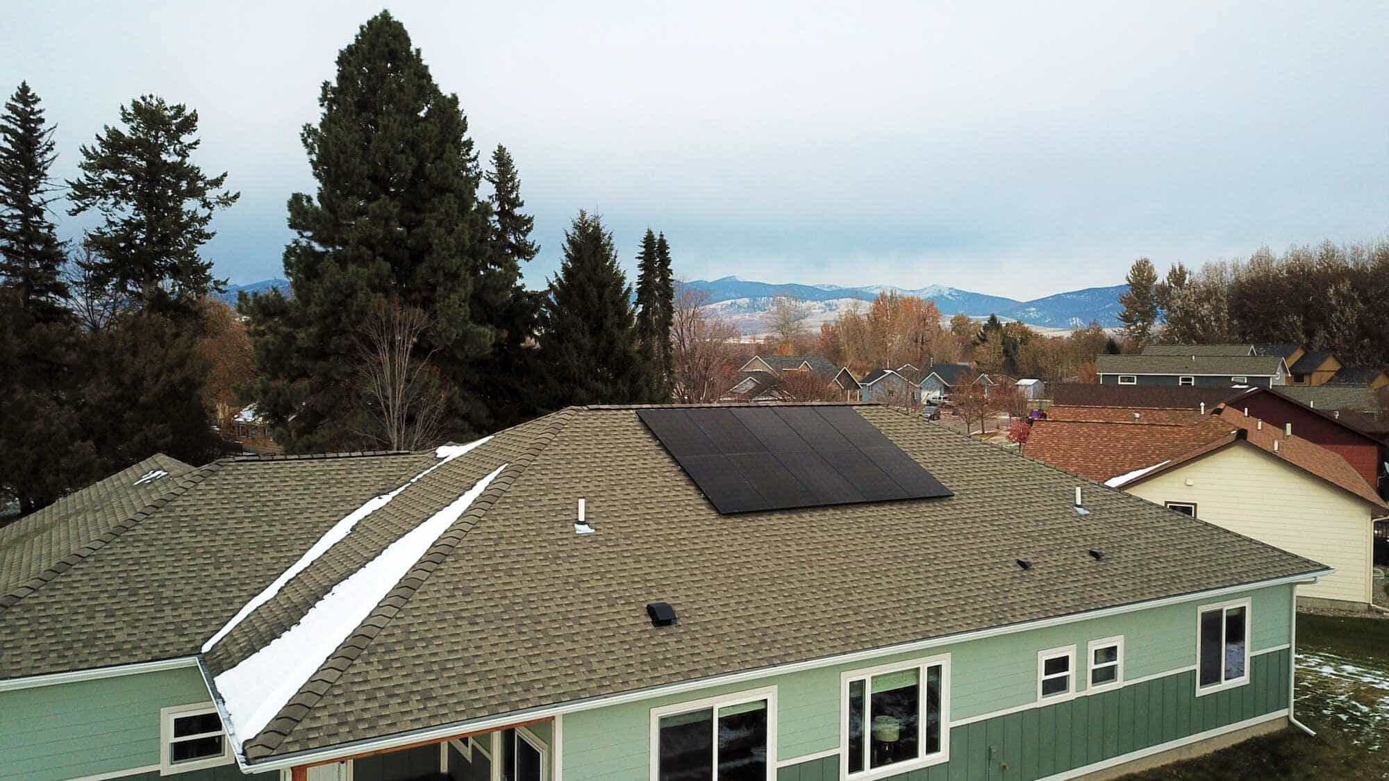 Solar panels on a roof in Missoula