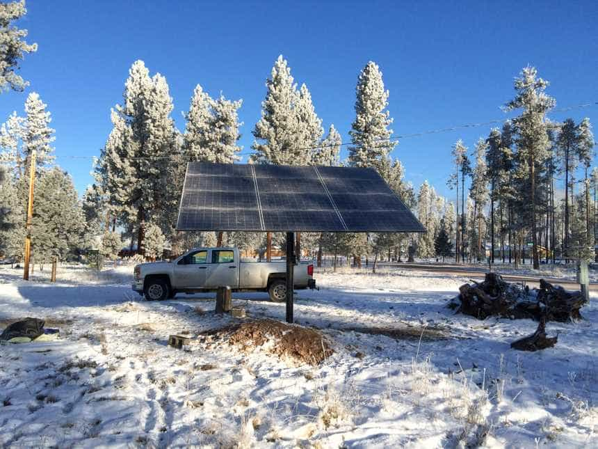Pole Mounted Solar Panels In Montana's Winter